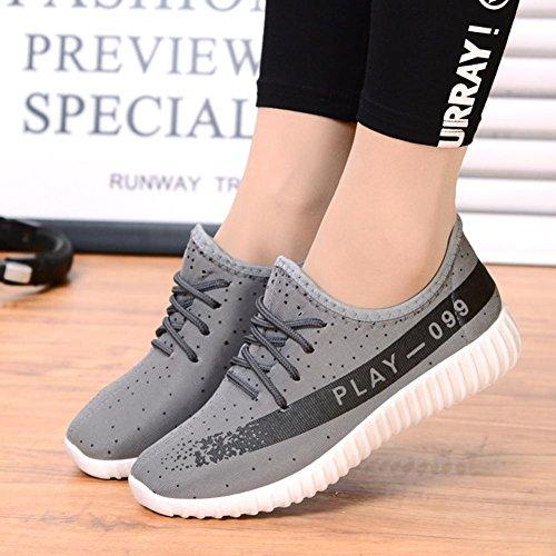 Mme Chaussures De Sport Respirant Chaussures De Course De Mode Chaussures Plates Grises