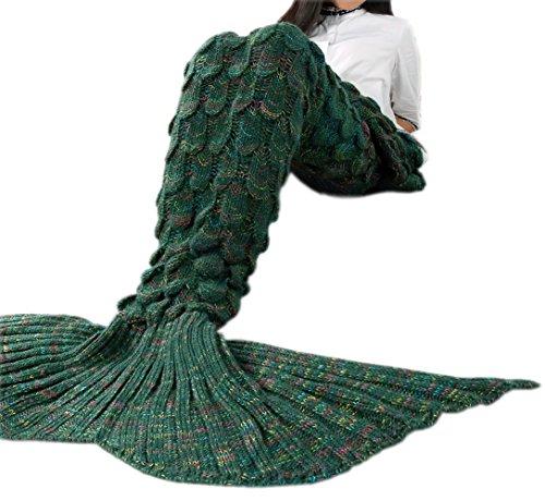 FEESHOW Erwachsene Kuscheldecke Meerjungfrau gestrickter Schlafsack mit gestreifter Schwanzflosse Decke fürs Sofa Bett im Winter Dunkelgrün Erwachsene