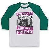 Inspired Apparel Inspiriert durch Palma Violets Best of Friends Inoffiziell 3/4 Hulse Retro Baseball T-Shirt, Weiß & Grün, XL