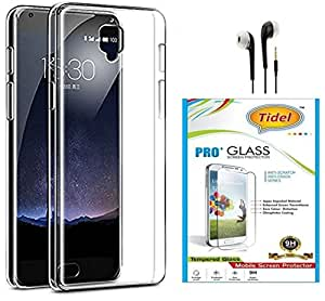 Tidel Crystal Clear Case Soft Flexible TPU Back Cover for One Plus 3 -Transparent With Tidel 2.5D Curved Tempered Glass &Earphone