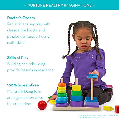 Melissa & Doug Geometric Stacker Toddler Toy (Developmental Toys, Rings, Octagons, and Rectangles, 25 colourful Wooden Pieces)