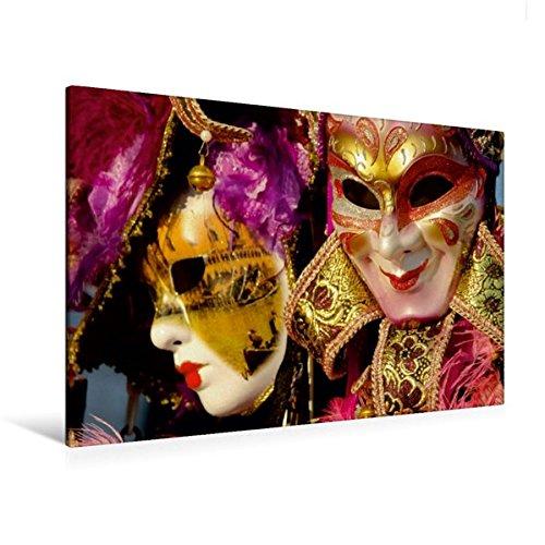 and 120 cm x 80 cm quer, Venezianische Masken | Wandbild, Bild auf Keilrahmen, Fertigbild auf echter Leinwand, Leinwanddruck: traumhaft schöne Lagunenstadt (CALVENDO Orte) (Schöne Maskerade Masken)
