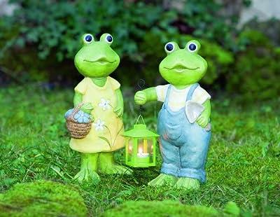 """Deko - Frosch """"Egon"""" mit Laterne, Gartenfigur aus Keramik"""