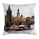 MLNHY Scenery Decor Throw Pillow Cushion Cover, European Country Landscape with Houses and River Watercolored Like Print, Decorative Square Accent Pillow Case, 18 X 18 inches, Multicolor