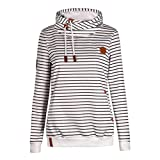 YunPeng Women's Striped Hoodies Slim Long Sleeve Drawstring Pullover Sweatshirts