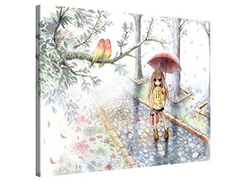 Gallery of Innovative Art Premium Leinwanddruck 100x75cm - Love in The Rain - Kunstdruck Auf Leinwand Auf 2cm Holz-Keilrahmen Für Wohn- Und Schlafzimmer Von Emperpep - Anime Kollektion -