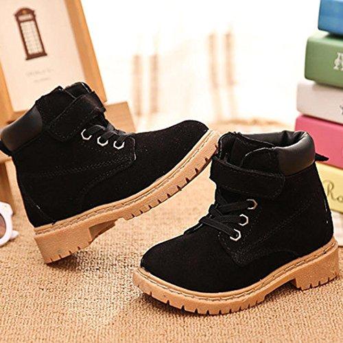 Chaussures de bébé,Transer ® Mode Kids Style cuir coton bottes neige chaude martre bottines Noir