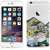 "Funda iPhone 6 Plus / 6s Plus 5.5"" Case, JAMMYLIZARD Carcasa TPU Transparente De Silicona Sketch Back Cover, HOMER SIMPSON & PETER GRIFFIN"