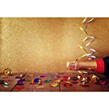 Cassisy 2,2x1,5m Vinile Compleanno Foto da Sfondo Champagne Coriandoli Nastri Muro di paillettes oro Tavole di legno Fondali Fotografia Partito Bambini Photo Studio Puntelli Photo Booth
