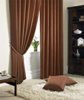 """Jacquard Check Lined Burnt Orange 90"""" X 72"""" - 229cm X 183cm Pencil Pleat Curtains from Curtains"""