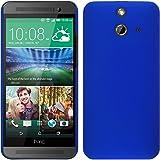 PhoneNatic Case für HTC One E8 Hülle blau gummiert Hard-case + 2 Schutzfolien