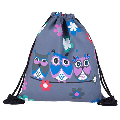 Kukubird Tre Gufi Su Un Ramo Primavera/estate Di Design Semplice Stringa Palestra Scuola Zaini Three Owls Grey