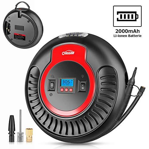 oasser Kompressor Luftpumpe Luftkompressor 12V-/230V-Anschluss mit 2000mAh wiederaufladbarer Li-ionen Batterie und LED Licht 2 Betriebsarten 120PSI