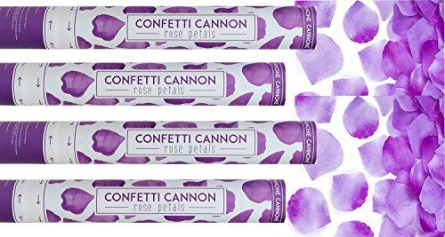 etti Kanone 4er Set Rosenblätter Rosenblüten lila 40cm Confetti Shooter ()