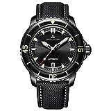 Montre de plongée Odysée automatique, noir PVD, verre Hardlex, bracelet nilon cuir