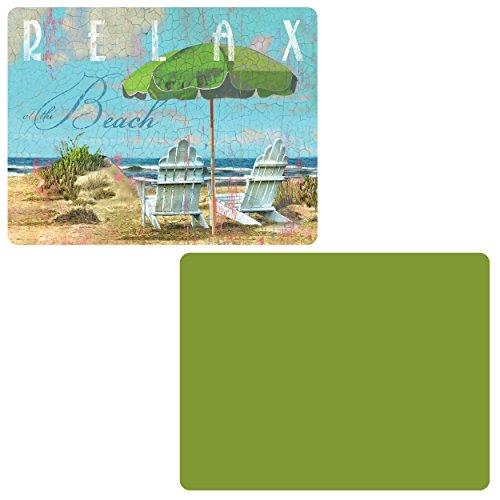 CounterArt 'grün/Tag am Strand' Flexible Schneidematte, Set von 2
