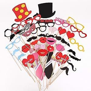 42x Accessoire pour Fête Mariage Photo booth Masque avec bâton Be Mine
