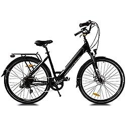 URBANBIKER Vélo électrique Ville Mod. Sidney, Baterie Lithium ION 504 Wh (14 Ah 36 V), 7 Vitesses, Deux Couleurs et Deux Tailles (Noir 28)