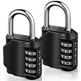 2 Pack 4-Stelliges Zahlenschloss, E2BUY® Kombinationsschloss, Vorhängeschloss, Wetterfestes Metall & Plated Steel Combination Lock für Schule, Angestellter, Gym & Sports Locker, Case, Toolbox, Zaun, Hasp Cabinet & Storage - Schwarz