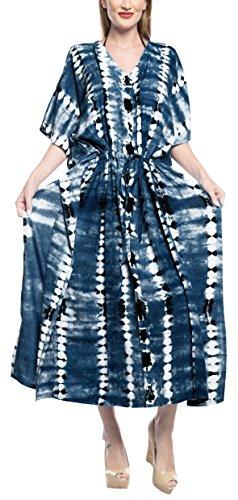 LA LEELA Damen Rayon überdimensional Maxi Tie Dye Kimono Kaftan Tunika Kaftan Damen Top Freie Größe Loungewear Urlaub Nachtwäsche Strand jeden Tag Kleider Navy blau_F691 -