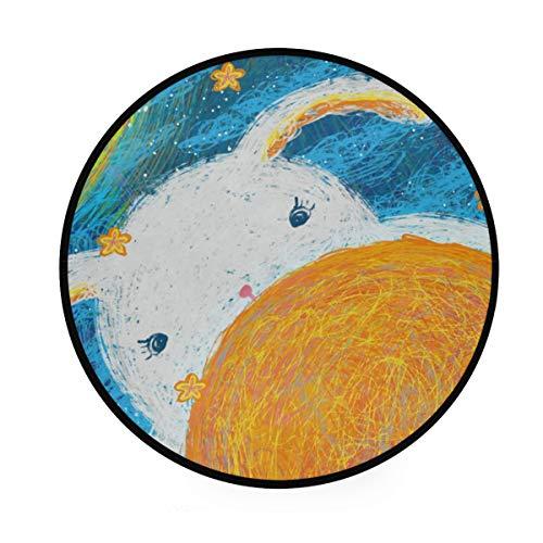 LORONA Healing System Teppich, rund, rutschfest, für Wohnzimmer, Schlafzimmer, Bad, Heimdeko, 91 cm -