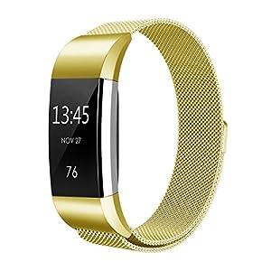 Fitbit Charge 2 Correa , Hanlesi Pulsera de Acero Inoxidable Reemplazo de la Muñeca con Cierre de Metal para Fitbit Charge 2 Fitness Wristband por Hanlesi