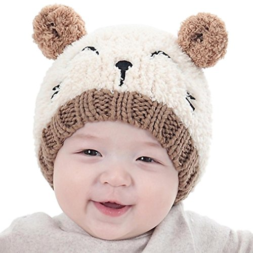 Baby Sannysis Babybekleidung Hüte & Mützen Sannysis Baby Mädchen Jungen Wintermütze Baumwollemütze Unisex Baby Winter Hüte Strick Wolle Mütze(1-3 Jahre) (Beige)