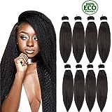 Topuhair Yaki Cheveux Noir Extensions Tissage 22Pouce Kinky Straight Synthétique Cheveux Femme 8 Tissage Cheveux Boucle Long 75g/Pcs (22Pouces/56cm, 1B)