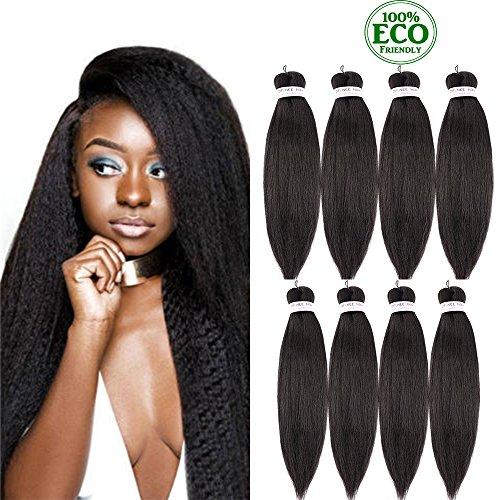 Preisvergleich Produktbild Topuhair 8 Bündel Yaki Haar Erweiterungen 22Inch Weave Haare Extension 75g / Pcs Synthetisches Haar Lang (22Inch / 56cm,  1B)