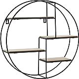 Spetebo Design Wandregal 40 cm - 4 Holz Ablagen - Metall Hängeregal Bad Regal Küchenregal
