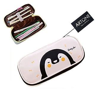 Artone Dibujos Animados Pingüino Gran Capacidad Estuche Papelería Bolso De La Pluma Bolso De Cosméticos White