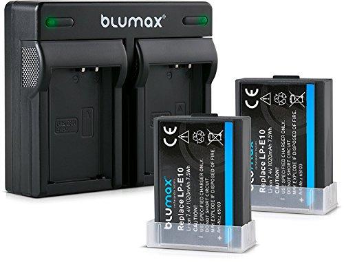 Blumax 2x Akku + Mini Doppelladegerät LC-E10e Netzteil Ladegerät für Canon LP-E10 1020mAh kompatibel mit Canon EOS 1100D 1200D 1300D | EOS Rebel T3-T5-T6 1020mAh