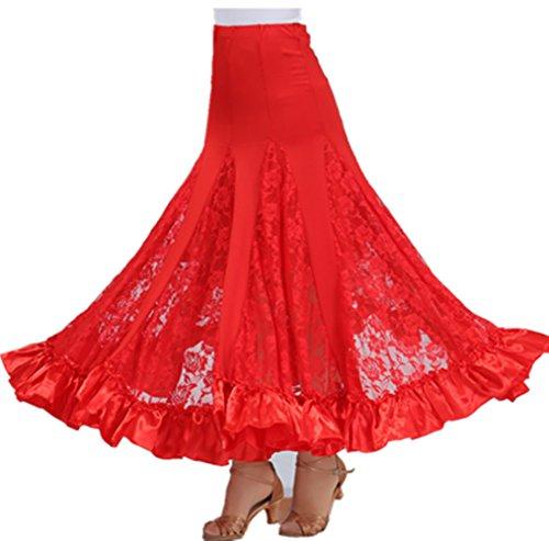 Ballsaal Tänzer Kostüm (Flamenco Rock Frau Standard Ballsaal Tanzen Lange Swing Kleid Modern Walzer Tango Spitze die Röcke)
