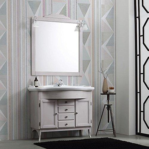 Mobile bagno shabby a terra nizza con lavabo e specchio