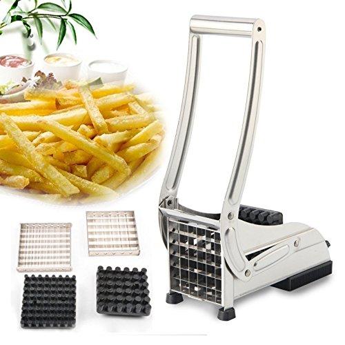 Keraiz Stella Pommes Frites Schneide Pommes-Frites-Schneider Chips Cutter Chopper, Edelstahl, Silber, 27x 10x 14cm