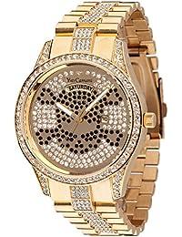 Yves Camani Damen-Armbanduhr Yves Camani Yael Skull Gold Stones Analog Quarz YC1078-B