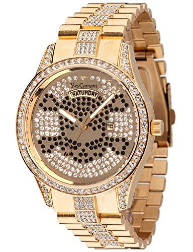 Yves Camani Yeal Skull - Reloj de cuarzo para mujeres, con correa de acero inoxidable de color dorado, esfera dorada