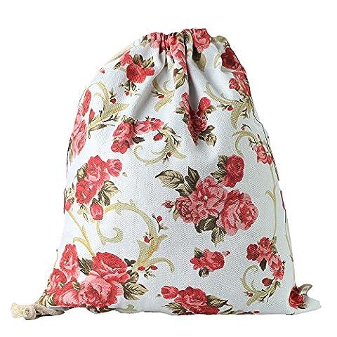 Lizimandu Fullprint Beutel Tasche Turnbeutel Rucksack Jutebeutel Sportbeutel Gym Bag Gymsack Fashion Drawstring Bags(Rote Rose/Red