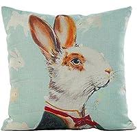 """Hmlai Funda de almohada, San Valentín Día conejo impresión lino almohada sofá cintura Throw Cojín Decoración del hogar, 18""""x18, A"""