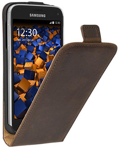 mumbi PREMIUM Leder Flip Case für Samsung Galaxy S5 mini Tasche braun