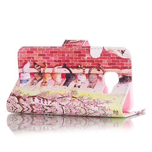 Galaxy A3 2016 Hülle, Galaxy A3 2016 Hülle Ledertasche Brieftasche handyhülle im BookStyle, SainCat PU Leder Wallet Case Folio Schutzhülle Painted Muster Hülle Bumper Handytasche Skin Schale Soft Back Cat Zaun