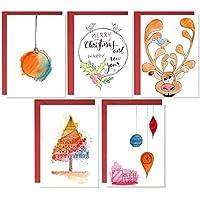 Cartolina di Natale, biglietti fatti a mano, biglietti di vischio di Natale, confezioni di cartoline di Natale, carta acquerello, biglietti di auguri
