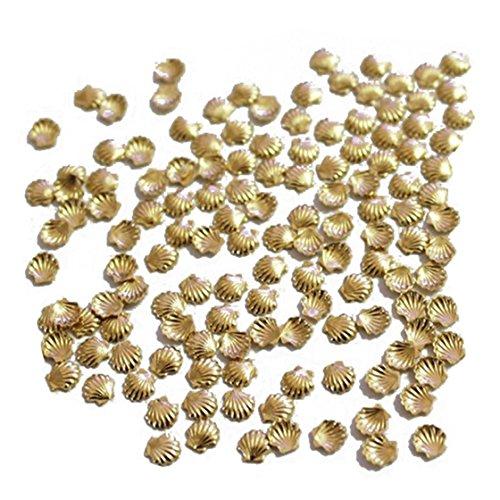 Nagel Decor - TOOGOO(R)50 Stueck Mini Legierung Goldene Muschel Korn fuer Nagel Kunst Dekoration Fertigkeit 2mm