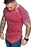 Amaci&Sons Oversize Herren Vintage Verwaschen Biker-Style T-Shirt Crew Neck Rundhals Basic Shirt 6087 Bordeaux L