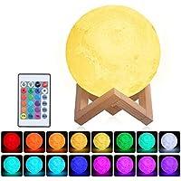 Lámpara Luna 3D,Tomshine 15cm Lámpara Mesilla de Noche,16 Colores y 4 Modos de Lluminación,Brillo Regulable Recargable USB,Control Remoto y Control táctil,regalo navidad para mujer