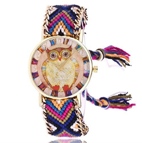 Sannysis Tejida hecha a mano pulsera trenzada mariposa Dial Quarzt Reloj para mujeres color (Búho, Azul)