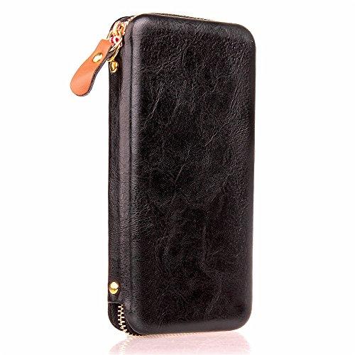 Large Capacity Magnetic Universal Phone Wallet Beutel Case Cover [Shockproof] mit Smooth Metal Zipper für bis zu 4,7 Zoll Smartphones [Gehäusegröße: 15,2 * 7,8 * 2cm] für iPhone 7 & 8 Samaung Galaxy S Black