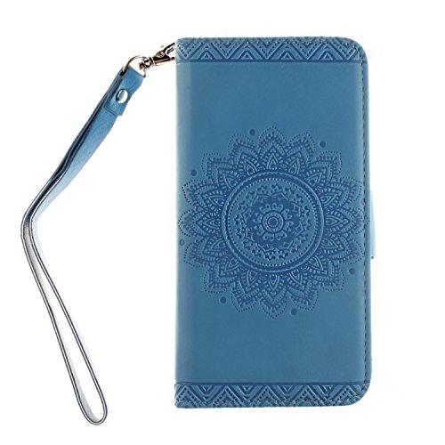 iPhone 6/6S Fall: fogeek geprägt Blumen Premium Leder Schutzhülle mit Standfunktion Wallet Flip Case Design Wallet Funktion für iPhone 6/6S und iPhone 6/6S Plus, schwarz, iPhone 6/6s Plus blau