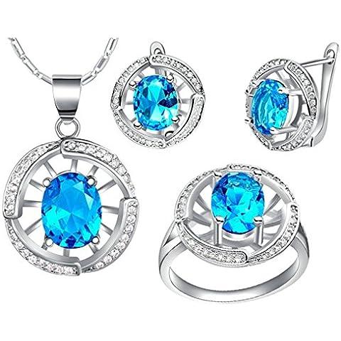 AieniD Conjunto de Collar Anillos y Aretes para Mujer Chapado en Plata Redondo Diseño con Azul Circonita Joyas de Regalos