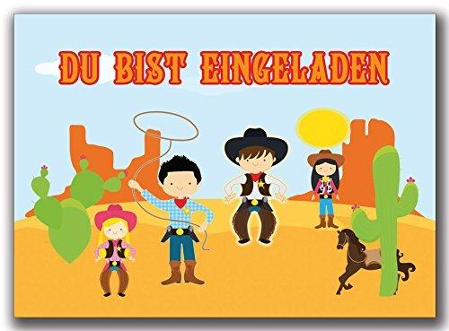 Einladungskarten Kindergeburtstag Cowboy Einladung Geburtstagskarten wilder Westen (8 Stück) Jungen Mädchen